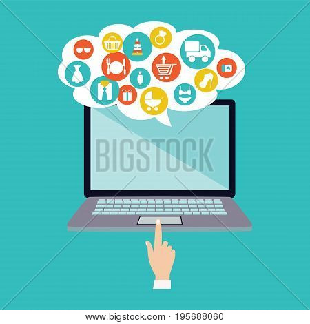 The concept of online shopping. Background with laptop computer and common online shopping icons on e-commerce store.
