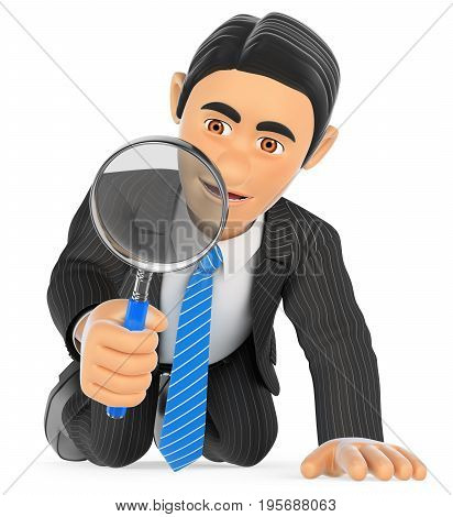 3d business people illustration. Businessman kneeling looking through a magnifying glass. Isolated white background.