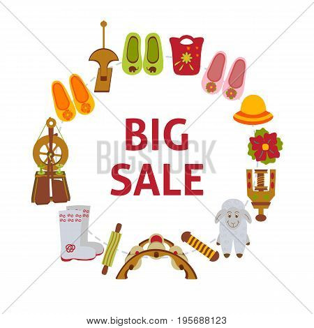 Big sale banner with felted goods. Vector illustration of wares and instrument for felting.