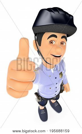 3d security forces people illustration. Police in shorts with thumb up. Isolated white background.