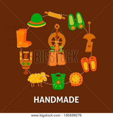Handmade banner with felting items. Vector illustration of felted goods in circle.