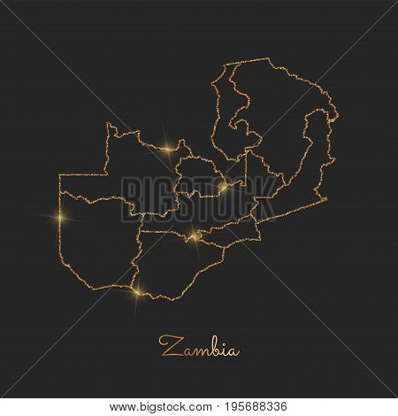 Zambia Region Map: Golden Glitter Outline With Sparkling Stars On Dark Background. Detailed Map Of Z