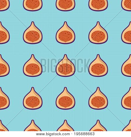 Fig vector seamless pattern. Cartoon fruit stylish texture. Repeating fig fruit seamless pattern background for friut design and web