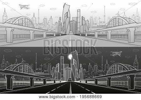 Railway bridge over wide highway. Urban infrastructure panorama, modern city on background, industrial architecture. Airplane fly. White lines illustration, day and night scene, vector design art poster