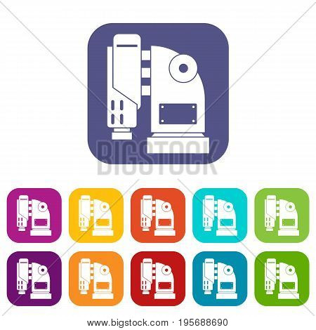 Pneumatic hammer machine icons set vector illustration in flat style In colors red, blue, green and other