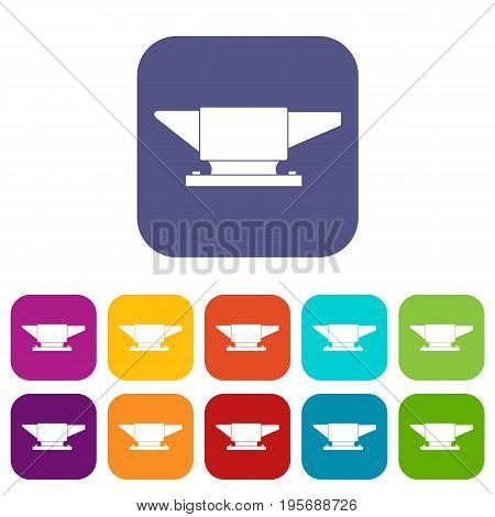 Anvil icons set vector illustration in flat style In colors red, blue, green and other