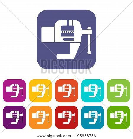 Vise tool icons set vector illustration in flat style In colors red, blue, green and other