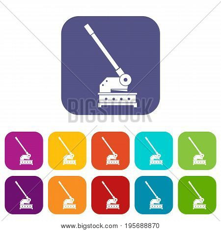Cutting machine icons set vector illustration in flat style In colors red, blue, green and other