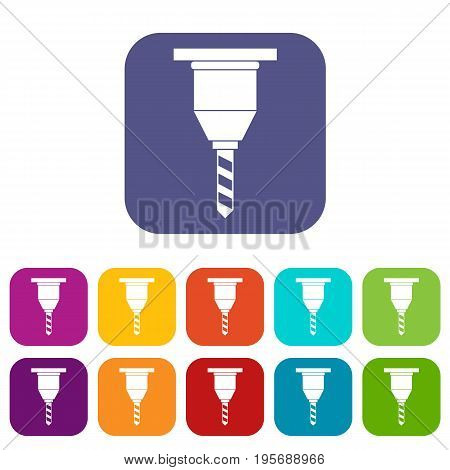 Drill bit icons set vector illustration in flat style In colors red, blue, green and other