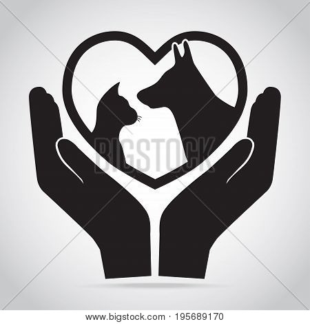 Dog and Cat with heart in hands icon. Protection care and help concept
