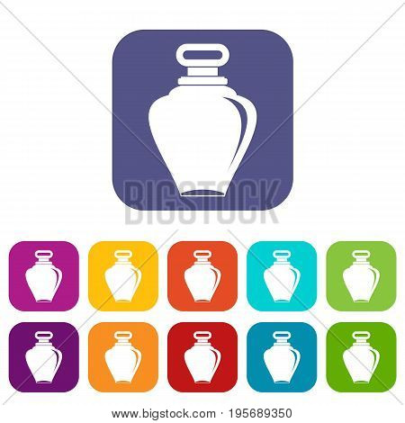 Parfume icons set vector illustration in flat style In colors red, blue, green and other
