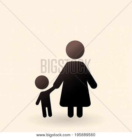 Vector Black Silhouette Icon - Mother With Child