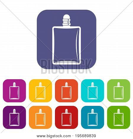 icons set vector illustration in flat style In colors red, blue, green and other