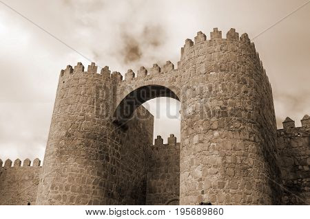 Puerta del Alcazar of castle Avila /fragment/ in Spain