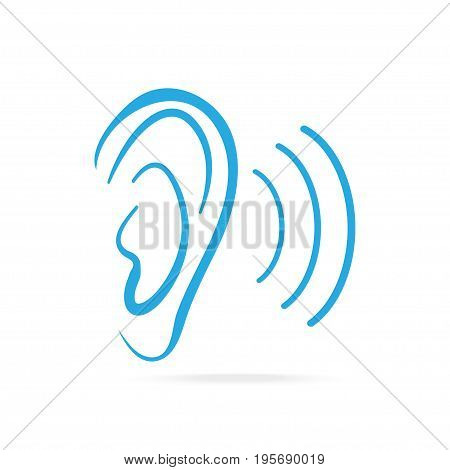 Ear blue icon hearing and ear icon