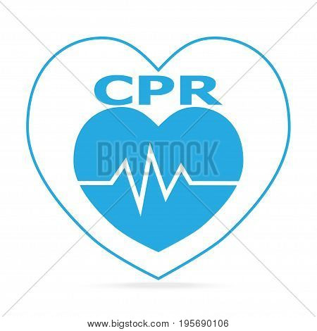 CPR Cardiopulmonary resuscitation blue icon. Medical sign icon
