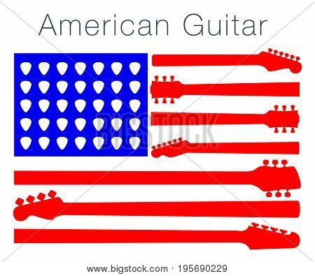 An American flag made out of guitar parts and picks