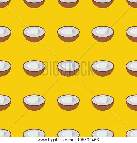 Coconut vector seamless pattern. Cartoon fruit stylish texture. Repeating coconut fruit seamless pattern background for friut design and web