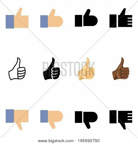 Vector Set Of Different Thumb Up Icons. Like And Dislike.