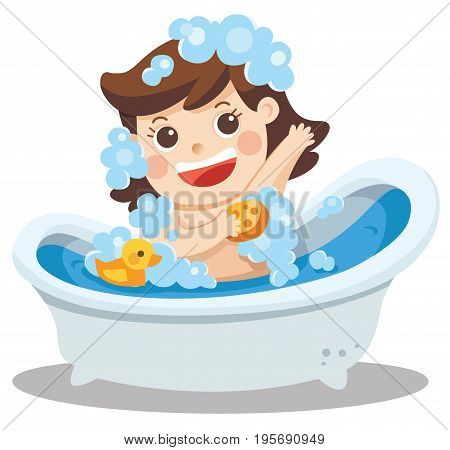 A baby girl taking a bath in bathtub with lot of soap lather and rubber duck. Isolated vector