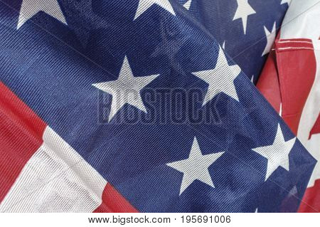 Close up flag of United State of America.