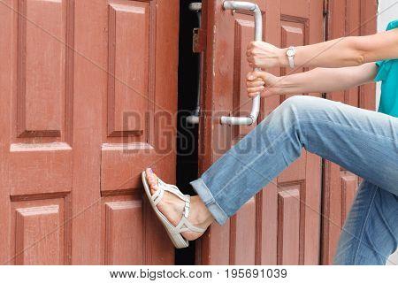 Opens the door to the school funny