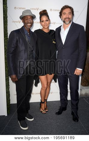 LOS ANGELES - July 13:  Don Cheadle, Halle Berry, Javier Bardem at the Final Pitch Event from Chivas The Venture at the LADC Studios on July 13, 2017 in Los Angeles, CA