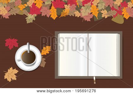 Blank open book ready for your text and cup of coffee are lying on a brown wooden table. The top edge forms colorful autumn leaves.