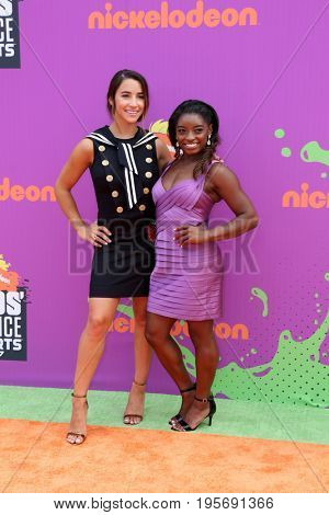 LOS ANGELES - July 13:  Aly Raisman, Simone Biles at the Nickelodeon Kids' Choice Sports Awards 2017 at the Pauley Pavilion on July 13, 2017 in Westwood, CA