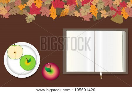Blank open book ready for your text red apple and white plate with green apples are lying on a brown wooden table. The top edge forms colorful autumn leaves.