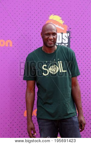 LOS ANGELES - July 13:  Lamar Odom at the Nickelodeon Kids' Choice Sports Awards 2017 at the Pauley Pavilion on July 13, 2017 in Westwood, CA