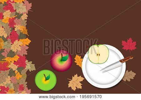 Red and green apples are lying on the table. Sliced green apple with knife are lying on the white plate. The edge forms colorful autumn leaves.