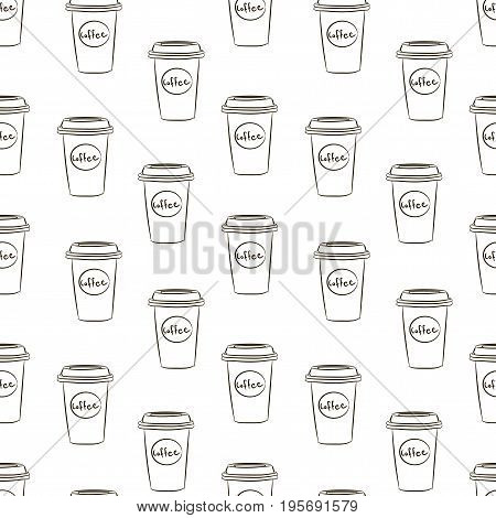 Seamless Pattern With Hand Drawn Sketchy Coffee Cups On White Background. Coffee Break Tiling Backdr