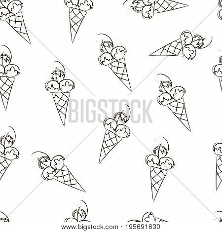Seamless Ice Cream Pattern, Hand-drawn Monochrome Black And White Background, Ice-cream Vector, Ice