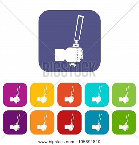 Chisel tool in man hend icons set vector illustration in flat style In colors red, blue, green and other