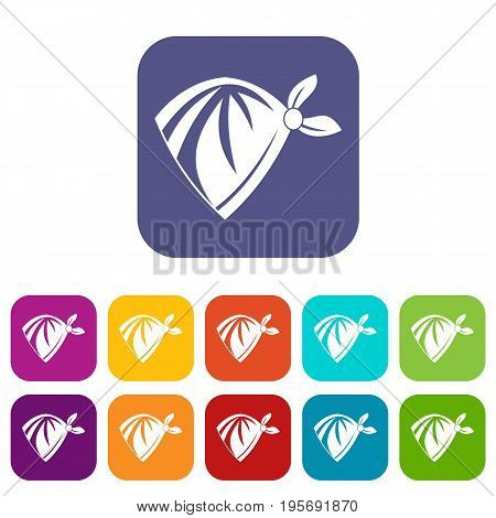 Cowboy neckerchief icons set vector illustration in flat style In colors red, blue, green and other