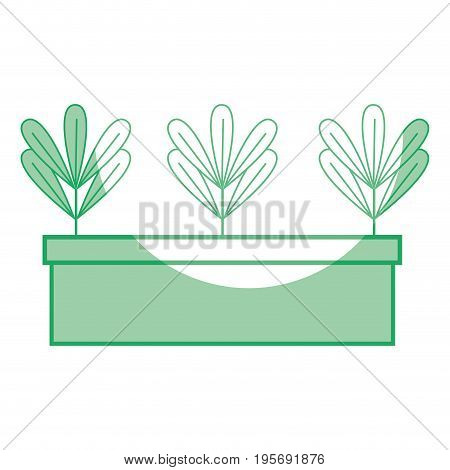 silhouette ecological plant with leaves inside flowerpot vector illustration