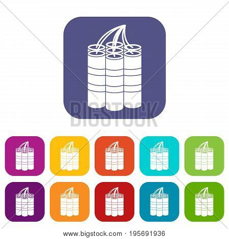 Dynamite sticks icons set vector illustration in flat style In colors red, blue, green and other