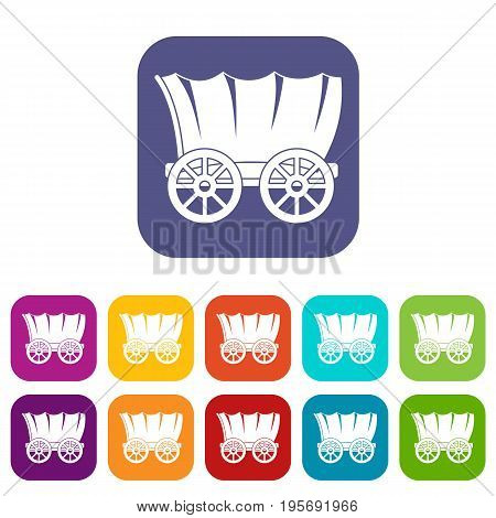 Ancient western covered wagon icons set vector illustration in flat style In colors red, blue, green and other