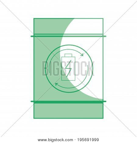 silhouette battery tank to conservation and environment care vector illustration