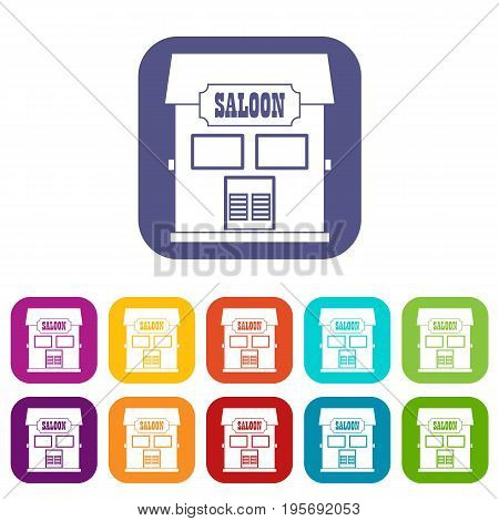 Western saloon icons set vector illustration in flat style In colors red, blue, green and other