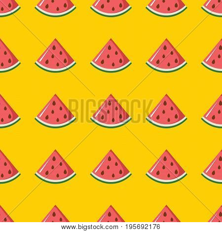 Watermelon vector seamless pattern. Cartoon fruit stylish texture. Repeating watermelon fruit seamless pattern background for friut design and web