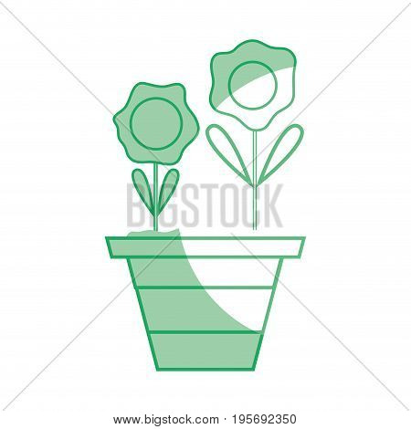 silhouette flowers with petals and leaves inside plantpot vector illustration