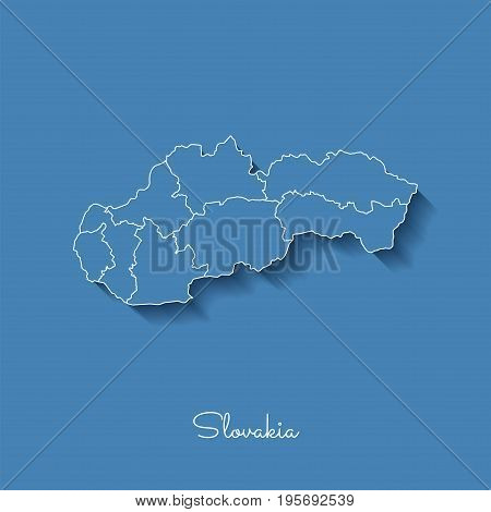 Slovakia Region Map: Blue With White Outline And Shadow On Blue Background. Detailed Map Of Slovakia