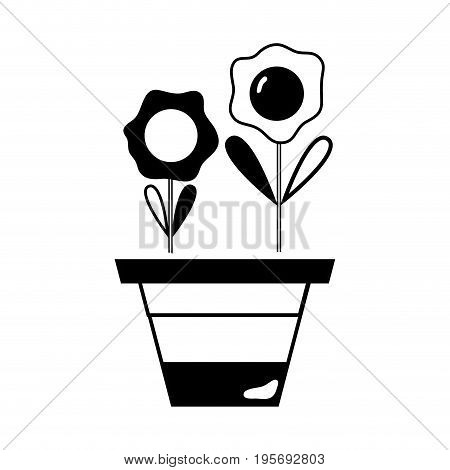 contour flowers with petals and leaves inside plantpot vector illustration
