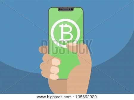 Bitcoin vector illustration. Hand holding modern bezel-free / frameless smartphone with bitcoin symbol displayed on green touchscreen