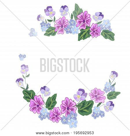 Vector illustration of a bouquet and a wreath of beautiful flowers