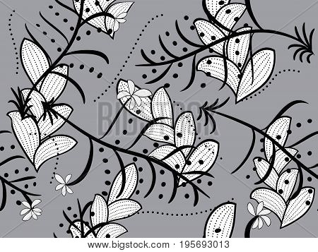 Seamless pattern in retro style in the form of chaotic patterns of leaves and branches on a gray background