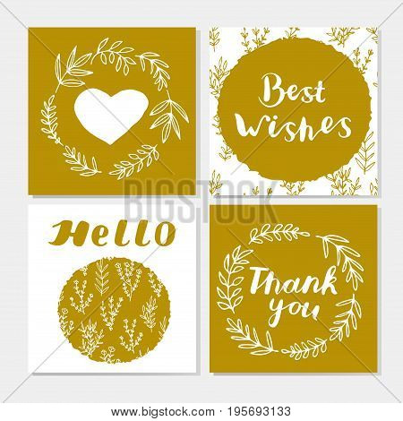 Set of cute gold and white cards with hand lettering. Laurel wreaths. Branches. Leaves. Heart. Best wishes. Thank you. Hello. Vector illustration.