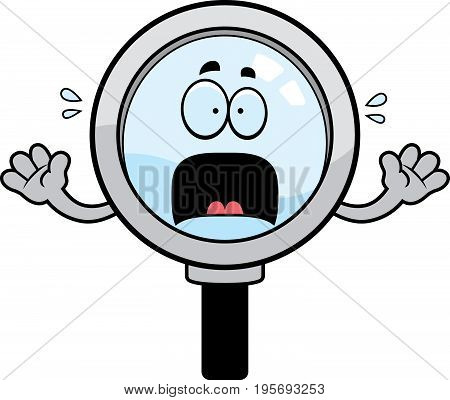 Scared Cartoon Magnifying Glass